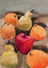 FOR THE BEACH TWO Expression Still Life Art Fruit Oil Painting 5x7 053019 KEN