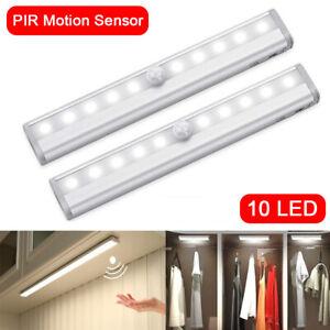 2X 10 LED Nachtlicht Schranklampe mit Bewegungsmelder PIR Sensor Unterbauleuchte