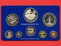 1975 Barbados Proof Silver 8 Coin Set (10$ 37.9 Grams .925 , 5$ 31.1 Grams .800)