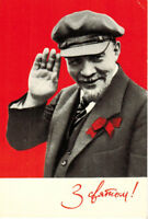 1969 Soviet postcard LENIN'S GREETINGS photo artistically presented A.Davidenko