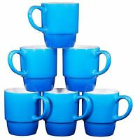 Bruntmor Porcelain Stackable Coffee Cups Mugs Set of 6 - 18 Ounce Gradient Blue