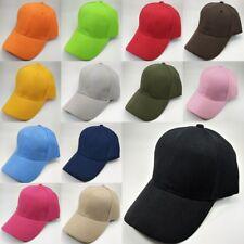 Hommes femmes Plaine Peaked Cap baseball Casquette réglable en coton chapeau