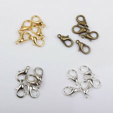 50 Lobster Clasps Platinum Bronze Gold Silver Plated 10mm 12mm 14mm Findings