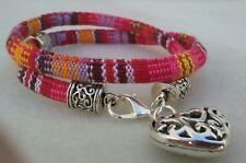 pulsera tejida,amor,amistad,plata tibetana,color rosa,corazon