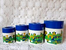 Vintage Tin Canister Set Made In Japan  50's Kitchen Blue Lid Retro Kitchenalia