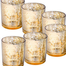 PACK OF 6 MEDIUM GOLD TEA LIGHT CANDLE HOLDERS BIRTHDAY PARTY ANNIVERSAY TABLE