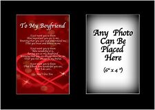 To My Boyfriend Poem Personalised with ANY PHOTO Birthday Christmas Gift