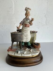 Capodimonte Vintage Chef Cooking Cuoco Food Signed Maia