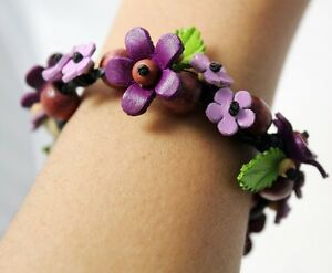 Handcrafted Genuine Leather Bracelet Purple Flower Floral Bangle Women Jewerly 1