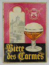 French Biere des Carmes Beer Advertisement Print Sign 1956 Wall Hanger 10 x 13.5