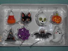 Celebrate Halloween Together Set of 8 Mini Tree Ornaments Bat, Skull, Ghost, Cat