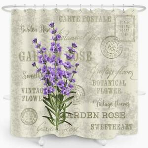 Nice! Rustic Lavender Postcard Floral Farmhouse Waterproof Fabric Shower Curtain