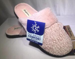 Dearfoams Women's Pink Chenille Clog Size M (7/8)  Slip-On Faux Fur Memory Foam