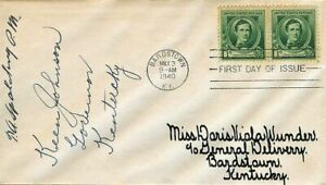 1940 Stephen Foster Sc 879 FDC signed Kentucky Governor, to Wunder, New Orleans