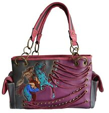 western riding  horse purple turquoise rope studs embroidery shoulder purse bag