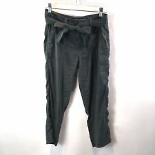 Liverpool Womens Pants Kinley Crop Linen Blend Tie Belt Waist Green Sz 4