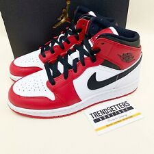 NIKE AIR JORDAN 1 MID CHICAGO WHITE TOE GS RED UK 4 4.5 5 5.5 6 6.5 WOMENS SIZE