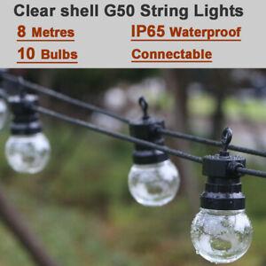 8M w/ 10 LED G50 Clear Bulbs Outdoor Patio Gazebo Festoon Garland String Lights