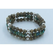 Triple Stack 925 Sterling Silver Green Kingman Turquoise Jasper Stretch Bracelet