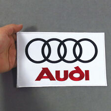 AUDI Embroidered Patch Embroidery Racing Emblem Mark 208x127mm White - Large