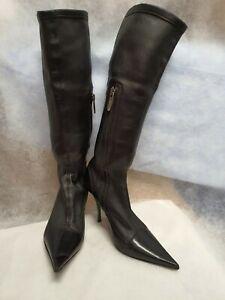 LORIBLU WOMEN LEATHER BOOTS in heels size 37.5 NERA/NAPPA ELAST,NE