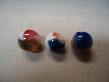 3 Vintage Vitro Agate Patch Marbles   9/16  to   5/8     Mint Minus  To  Mint +