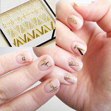 Charm 3D Nail Art Stickers Gold V Shape Heartbeat Nail Decals Tips Decoration FT