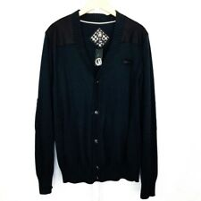 CAVI Mens Black with Gray//Yellow Trim Cardigan Sweater Sizes 3XL and 4XL