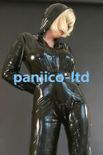 Latex Rubber Gummi Black Full-body Hat Catsuit Handsome Bodysuit Size XS-XXL