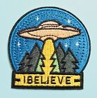 👽 BELIEVE Patch UFO Aliens Spaceship X-files Mulder Government Cover Up Cryptid