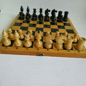 beautiful CHESS SET Rare Vintage soviet wooden in Wooden box from USSR (1980-th)