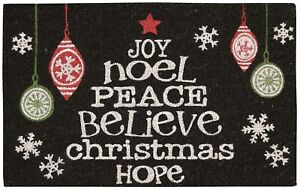 Nourison Word Christmas Tree Coir Doormat One Size Black/red/green/white