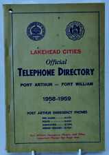 Vintage Lakehead Cities Official Telephone Directory 1958-1959 w/ Advertisements