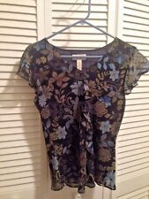 Multi Colored Blue Green Black Ruffle Center & Cap Sleeve Woman's Blouse Size 6