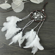 Dream Catcher With White Feather Beads Wall Hanging Decor Craft Car Ornament G$C