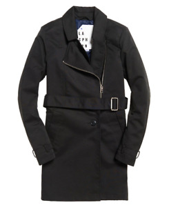 BNWT Womens Stunning Superdry Nordic Trench Coat / Jacket in Black - Size Large