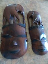 VINTAGE ELEPHANT HAND-CARVED WOODEN MASKS,ZAMBIA