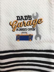 Embroidered Blk/WHT  Striped Kitchen Bar Hand Towel   Dad's Garage Always Open