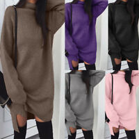 Women's Turtleneck Knitted Long Sleeve Sweater Dress Jumper Winter Pullover Tops