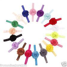Lot of 18 Baby Toddler Girls Kids Infant Shabby Flower Elastic Headbands Newborn