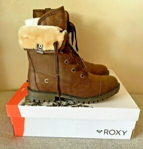 NIB ROXY BRUNA DK BROWN LACE UP FOLDOVER COMBAT BOOTS SZ 5-11 ARJB700580