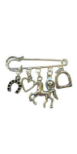 Horseriding Brooch Bag Charm - Silver Plated - Horse