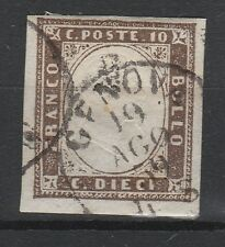 FRANCOBOLLI 1859 SARDEGNA C.10 BRUNO GRIGIASTRO 19/8 Z/5010