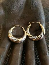 VINTAGE 10K GOLD WHITE AND YELLOW PUFFY HOOP EARRINGS SWIRL