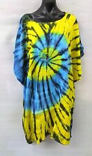 Colourful Long Tie Dye Blue/Yellow Loose Fitting Tunic/ Top Size 12-14-16-18