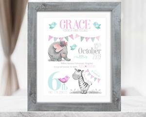 Personalised Safari New Baby Girl Gift. Christening Gift. Baby Girl Birth Print
