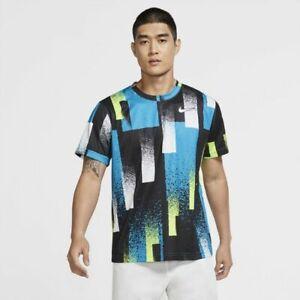 New Nike Court Dri Fit Mens Printed Tennis Top Agassi Challenge CK9820-449 Large