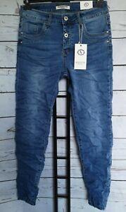 KAROSTAR Damen Boyfriend Baggy Jeans Hose ausgefallene Knopfleiste 38/40-48 NEU