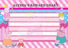 PERSONALISED CHILDRENS PEPPA PIG  REWARD CHART MAGNET STRIPS & STAR STICKERS