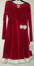 New Bonnie Jean Christmas Dress Sparkly Red with White Faux Fur Trim SZ 16 NWT